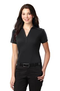 Port Authority® Ladies Silk Touch Performance Colorblock Stripe Polo.-Port Authority