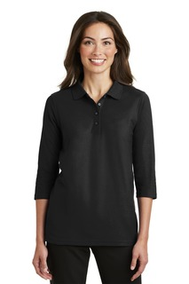 Port Authority® Ladies Silk Touch 3/4-Sleeve Polo.-Port Authority