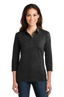 Port Authority® Ladies 3/4-Sleeve Meridian Cotton Blend Polo.-