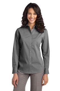 Port Authority® Ladies Fine Stripe Stretch Poplin Shirt.