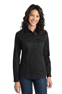 Port Authority® Ladies Stain-Release Roll Sleeve Twill Shirt.