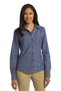Port Authority® Ladies Patch Pockets Denim Shirt.