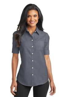 Port Authority® Ladies Short Sleeve SuperPro Oxford Shirt.-