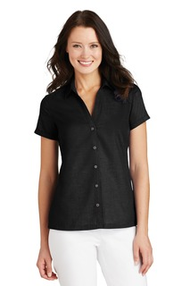 Port Authority Ladies Woven Shirts for Hospitality- ® Ladies Textured Camp Shirt.-Port Authority
