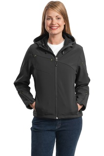 Port Authority Textured Hooded Soft Shell Jacket.-Port Authority