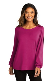 Port Authority Luxe Knit Jewel Neck Top.-Port Authority