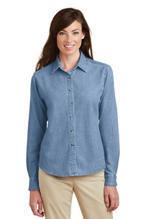 Port & Company Ladies Woven Shirts for Hospitality- ® - Ladies Long Sleeve Value Denim Shirt.-Port & Company