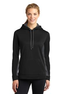 Sport-Tek® Ladies Sport-Wick® Fleece Colorblock Hooded Pullover.-