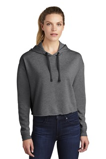 Sport-Tek ® Ladies PosiCharge ® Tri-Blend Wicking Fleece Crop Hooded Pullover-Sport-Tek