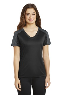 Sport-Tek® Ladies PosiCharge® Competitor Sleeve-Blocked V-Neck Tee.-
