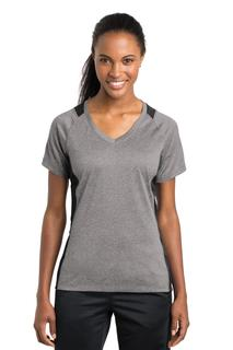 Sport-Tek® Ladies Heather Colorblock Contender V-Neck Tee.-