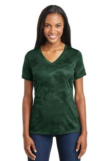Sport-Tek® Ladies CamoHex V-Neck Tee.-