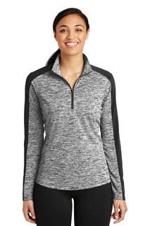 Sport-Tek® Ladies PosiCharge® Electric Heather Colorblock 1/4-Zip Pullover.-