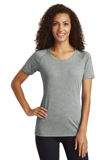 Sport-Tek ® Ladies PosiCharge ® Tri-Blend Wicking Scoop Neck Raglan Tee.-Sport-Tek