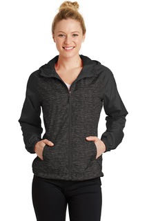 Sport-Tek Heather Colorblock Raglan Hooded Wind Jacket.-
