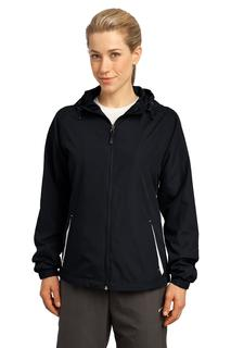 Sport-Tek® Ladies Colorblock Hooded Raglan Jacket.