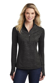 Sport-Tek ® Ladies Sport-Wick ® Stretch Reflective Heather 1/2-Zip Pullover.-