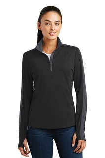 Sport-Tek® Ladies Sport-Wick® Textured Colorblock 1/4-Zip Pullover.-