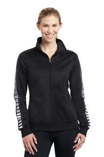 Sport-Tek® Ladies Dot Sublimation Tricot Track Jacket.
