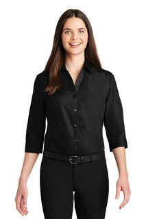 Port Authority® Ladies 3/4-Sleeve Carefree Poplin Shirt.