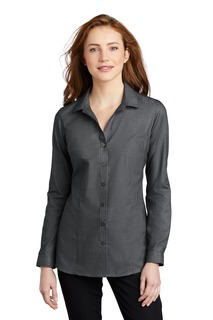 Port Authority Ladies Woven Shirts for Hospitality- ® Ladies Pincheck Easy Care Shirt-Port Authority