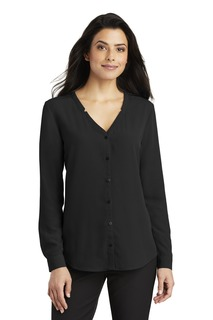 Port Authority® Ladies Long Sleeve Button-Front Blouse.-Port Authority
