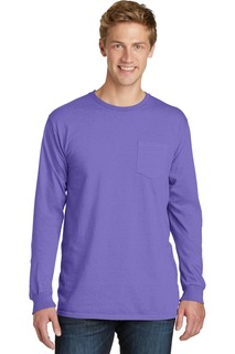 Port & Company® Beach Wash Garment-Dyed Long Sleeve Pocket Tee-Port & Company