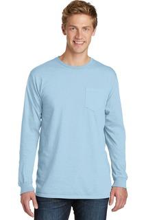 Port & Company Beach Wash Garment-Dyed Long Sleeve Pocket Tee-
