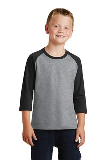 Port & Company Youth Core Blend 3/4-Sleeve Raglan Tee.-