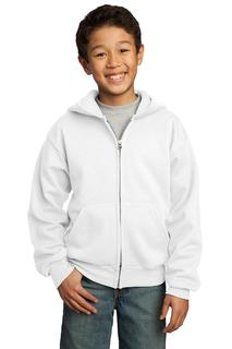 Port & Company® - Youth Core Fleece Full-Zip Hooded Sweatshirt.-Port & Company