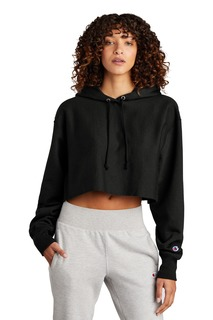Champion ® Womens Reverse Weave ® Cropped Cut-Off Hooded Sweatshirt-