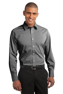 Port Authority® Fine Stripe Stretch Poplin Shirt.