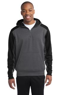Sport-Tek® Tech Fleece Colorblock 1/4-Zip Hooded Sweatshirt.-Sport-Tek