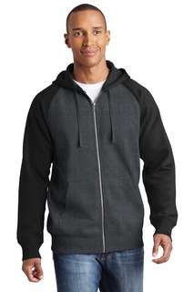 Sport-Tek® Raglan Colorblock Full-Zip Hooded Fleece Jacket.-