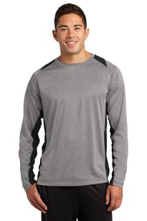 Sport-Tek® Long Sleeve Heather Colorblock Contender Tee.-Sport-Tek
