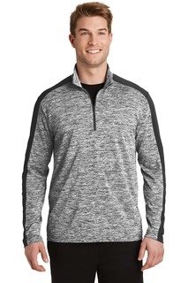 Sport-Tek PosiCharge Electric Heather Colorblock 1/4-Zip Pullover.-