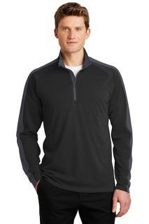 Sport-Tek® Sport-Wick® Textured Colorblock 1/4-Zip Pullover.-
