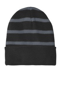 Sport-Tek Hospitality Caps ® Striped Beanie with Solid Band.-Sport-Tek