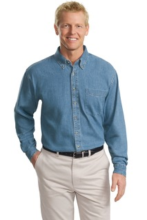 Port Authority Hospitality Tall Woven Shirts ® Tall Long Sleeve Denim Shirt.-Port Authority