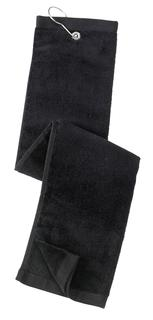 Port Authority® Grommeted Tri-Fold Golf Towel.-Port Authority