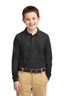 Port Authority® Youth Long Sleeve Silk Touch Polo.-Port Authority