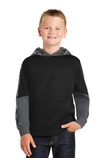 Sport-Tek® Youth Sport-Wick® Mineral Freeze Fleece Colorblock Hooded Pullover.-
