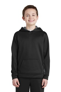 Sport-Tek® Youth Sport-Wick® Fleece Colorblock Hooded Pullover.-