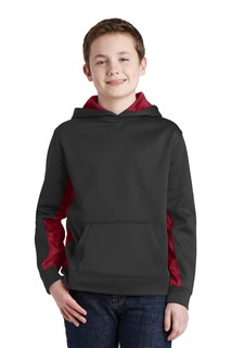 Sport-Tek® Youth Sport-Wick® CamoHex Fleece Colorblock Hooded Pullover.-