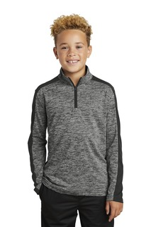 Sport-Tek Youth PosiCharge Electric Heather Colorblock 1/4-Zip Pullover.-