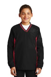 Sport-Tek® Youth Tipped V-Neck Raglan Wind Shirt.-