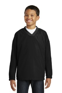 Sport-Tek Youth V-Neck Raglan Wind Shirt.-
