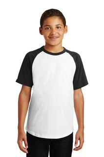 Sport-Tek® Youth Short Sleeve Colorblock Raglan Jersey.-