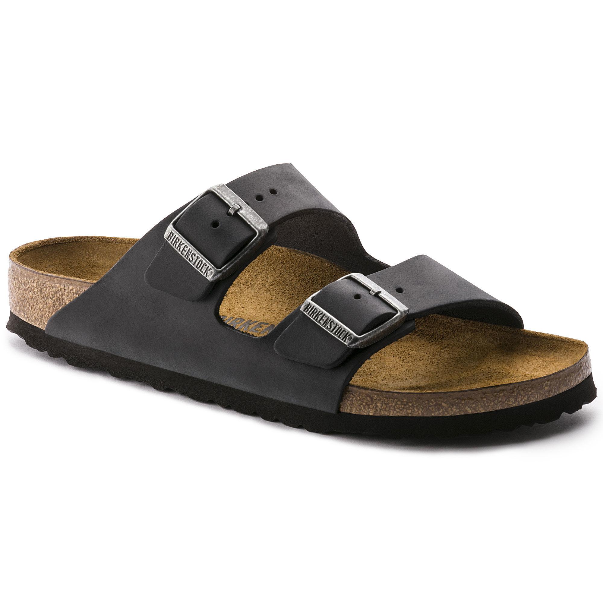 Birkenstock Arizona Black Oil Leather Sandals