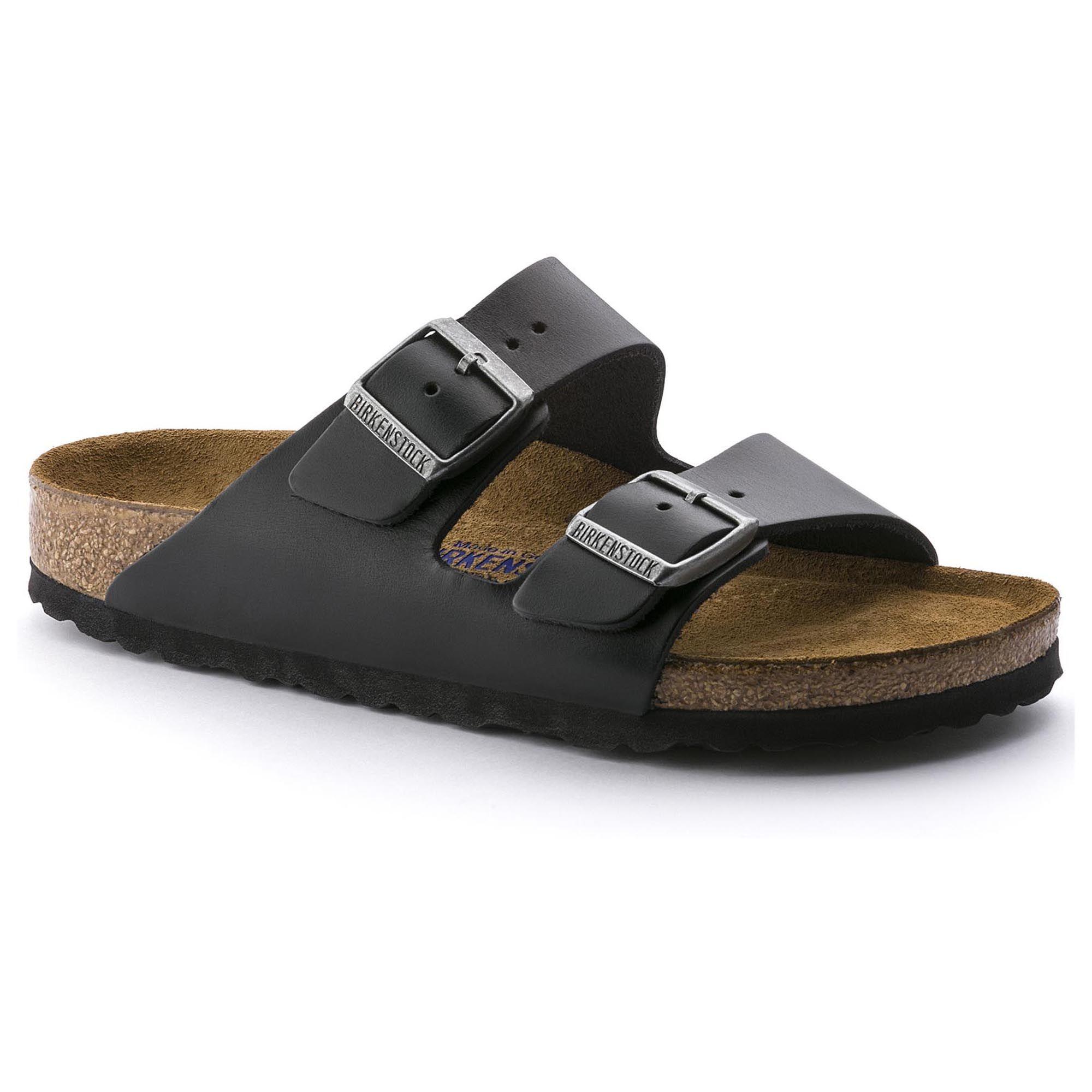 Birkenstock Arizona Soft Footbed Black Amalfi Leather Sandals